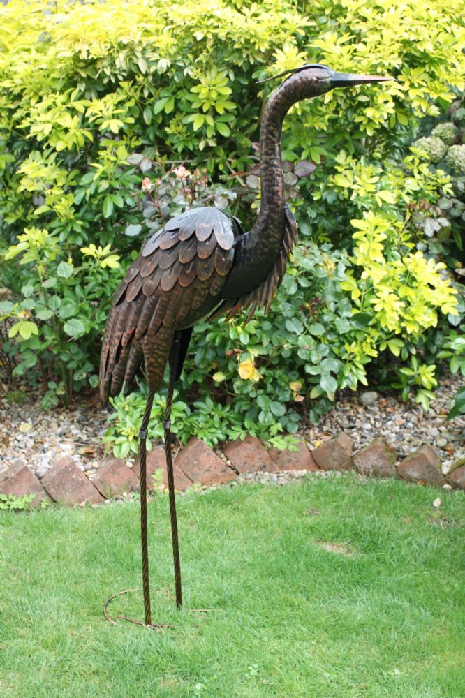 Bronze Heron Large Garden Metal Statue Lawn Ornament